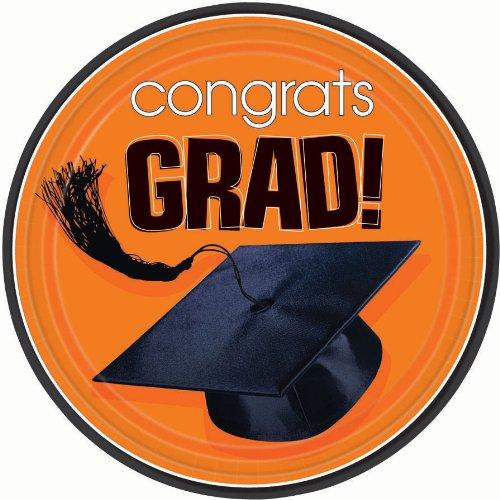 Congrats Grad Orange Dessert Plates, 18ct - 1