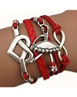 Bracelet infini rouge karma infinity cuir tendance cœur danseuse