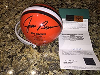 Cleveland Browns Jim Brown Autographed signed Browns Mini Helmet with Old Style Face Mask Upperdeck UDA LE 51/132