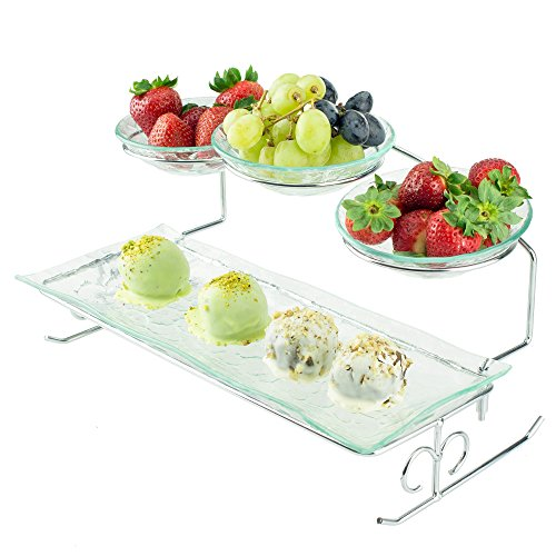 2 Tier Server Stand with Bowls & Tray - Tiered Serving Platter - Perfect for Cake, Dessert, Shrimp, Appetizers & More (Glass Vegetable Tray compare prices)