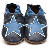 Chaussons Bébé en cuir doux Etoile Bleue 6/12 mois