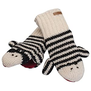 Animal World - Cute Stripe Sock Monkey Knit Mittens Multi