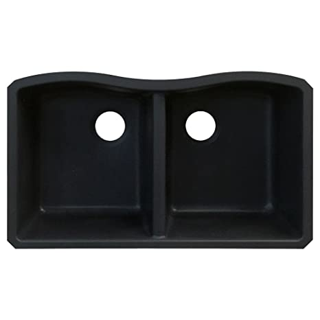 Transolid AUDE3219-09 Aversa 19.125-in W x 31.9375-in L Granite Double Equal Undermount Kitchen Sink, Black