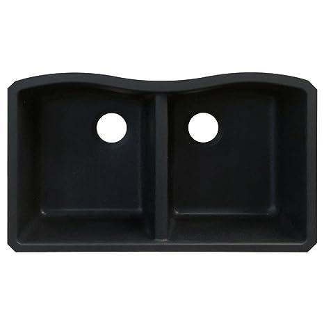 Transolid AUDE3219-09 Aversa 19.125-in W x 31.9375-in L Granite Double Equal Undermount Kitchen Sink, Black