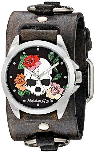 Nemesis Unisex 933dfrb-k Negro Diseño de calavera y rosas Series Faded negro puños de piel de anillo de banda analógica Display Reloj Negro de cuarzo japonés