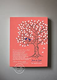 MuralMax - Personalized Family Tree & Lovebirds, Stretched Canvas Wall Art, Make Your Wedding & Anniversary Gifts Memorable, Unique Decor, Color Coral - 30-DAY Money Back Guarantee - Size - 12x16