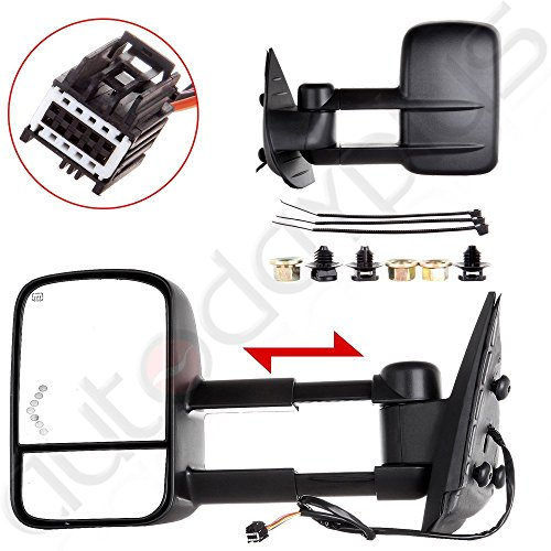 Scitoo Towing Mirrors Power Arrow Led Signal Light Heated For 07-13 Chevy/GMC Silverado/Sierra Truck Side Mirror Pair(Just 07 NEW Body Style) (08 Silverado 1500 Tow Mirrors compare prices)