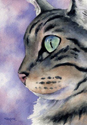 """Tabby Cat"" Cat Art Print Signed by Artist DJ Rogers"