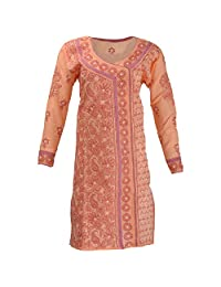 Lucknow Chikan Industry Women's Cotton Straight Kurti (Orange , 40 Inches)