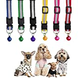 Pets Empire Reflective Safe Pets Collar With Bells Adjustable Length ,9-13 In (Color May Vary)