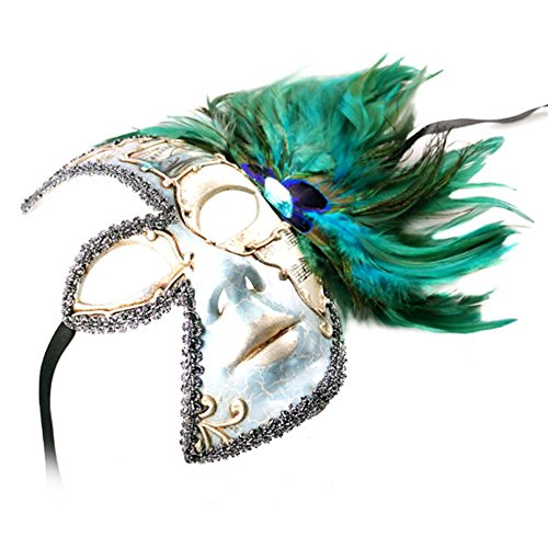 Venetian Style Half Face Feather on Side with Music Note Designed Mask Sea Blue