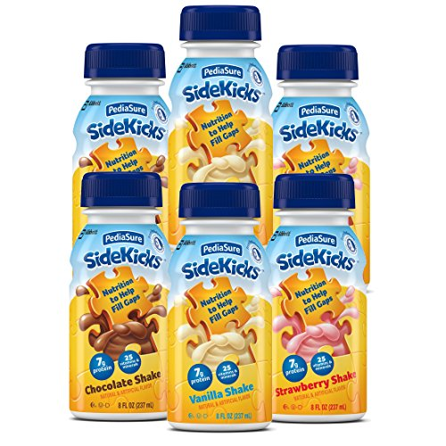 PediaSure SideKicks, Nutritional Protein Shake for Kids 8 fl oz (6 Count) Variety Pack Drinks with Strawberry, Chocolate, Vanilla. Contains 25 Vitamins, Minerals, Suitable for Lactose Intolerance