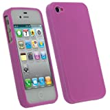 IGadgitz Pink Glossy Durable Crystal Gel Skin (Thermoplastic Polyurethane TPU) Case Cover for Apple iPhone 4S 16GB 32GB 64GB + Screen Protector