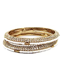 Aria Party Wear Attractive Pearl CZ 2pc Bangle For Women L7370