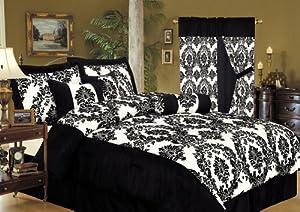 7Pcs King Louisa Flocking Black Bedding Comforter set