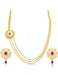 Sukkhi Cluster 3 String Gold Plated CZ Necklace Set For Women