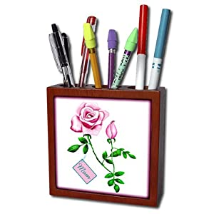 3dRose ph_11662_1 This Artwork Features a Pretty Pink Rose with Rosebud Design for Mothers Day Tile Pen Holder, 5-Inch
