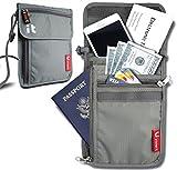 Neck Wallet w/RFID Blocking- Concealed Travel Pouch & Passport Holder (Neck Light Gray)
