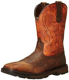 Ariat Men\'s Groundbreaker Wide Square Toe Work Boot, Brown/Ember, 9.5 M US