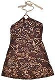 Chanceful Women's Halter Necktie Dress with Glittering Totem Print Pattern