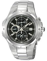Seiko Men's SNAD53 Coutura Alarm Chronograph Silver-Tone Black   Dial Watch