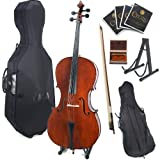 Cecilio 4/4 CCO-200 Handmade Solid Wood Student Cello with Hard and Soft Case, Bow, Rosin, Bridge, Strings and Stand