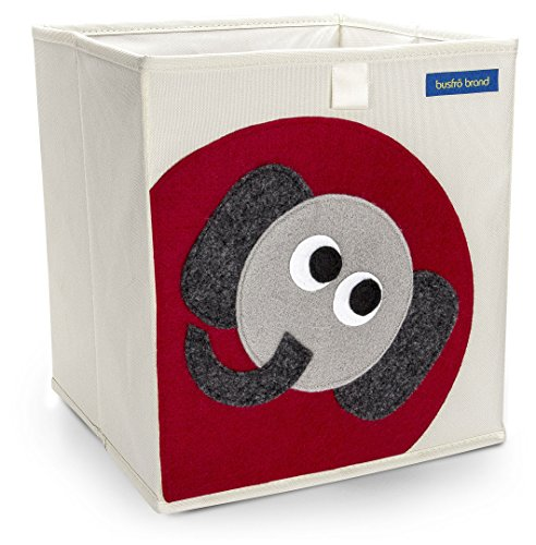 Foldable Cube Storage Bin Box for Nursery or Kids Toys (Elephant)