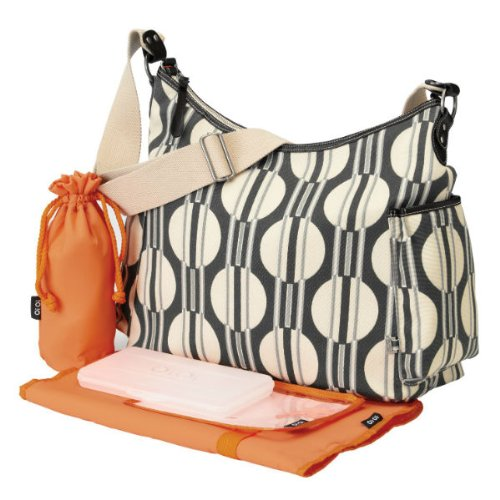 Oioi - Hobo Baby Changing Bag - Dark Grey Sand Dot Stripe
