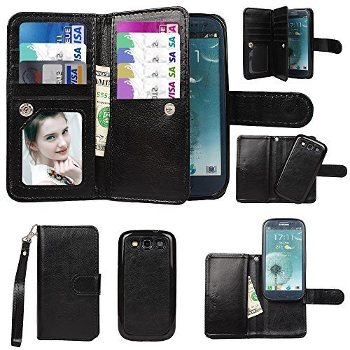 Galaxy S3 Case, xhorizon TM Premium Leather Folio Case [Wallet Function] [Magnetic Detachable] Fashion Wristlet Purse Soft Flip Multiple Card Slots Case Cover ZA5 for Samsung Galaxy S3 (I9300) - Black (Wristlet For Samsung Galaxy S3 compare prices)