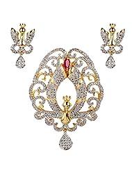 Swasti Jewels American Diamond CZ Colourful Traditional Jewellery Set Pendant Earrings For Women