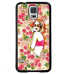 Fuson Flower Pattern Girl Back Case Cover for SAMSUNG GALAXY S5 - D3916