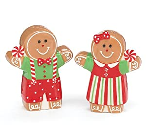 Gingerbread Girl And Boy Salt & Pepper Shaker Set For Christmas Kitchen Decor