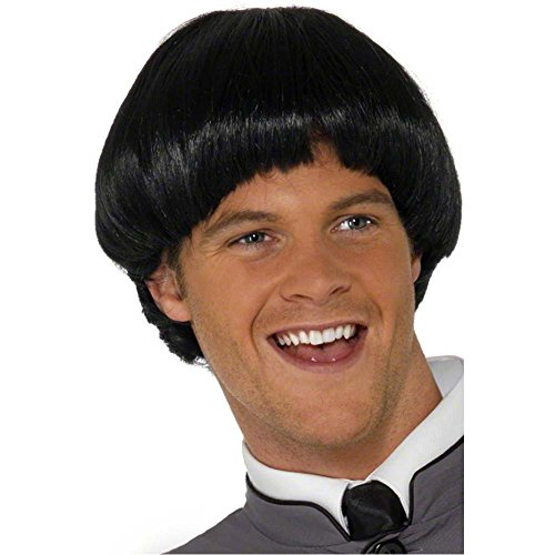60s Bowl Cut Black Wig - One Size