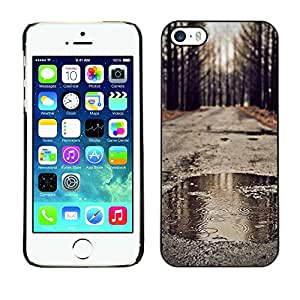 Omega Covers - Snap on Hard Back Case Cover Shell FOR Apple iPhone 5 / 5S - Autumn Rain Romantic Nature Fall Road