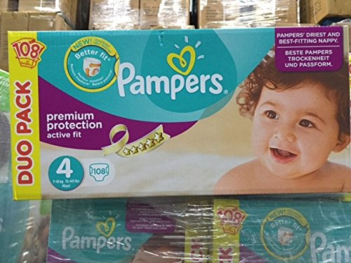 PAMPERS ACTIVE FIT TAILLE 4- LOT DE 108 COUCHES (2X54) 7-18 KG
