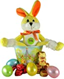 Reeses Peanut Butter Cup Rapping Rabbit Plush Toy Easter Basket with Assorted Candy