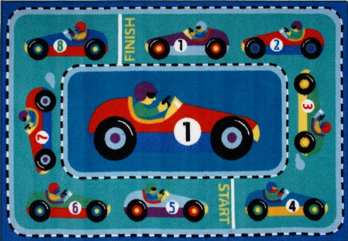 Roule Olive Kids Collection Vroom 39X58 Inch Kids Area Rugs