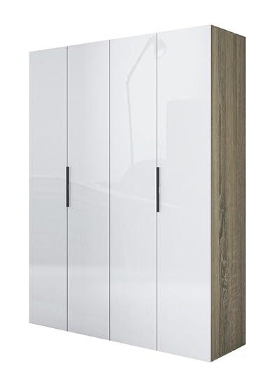 Armario de 4 puertas y trufas, lacado, color blanco