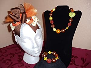 Little Girls Chunky Bubble Gum Necklace and Bracelet, Over the Top Bow~acrylic Beads, Chunky Jewelry,
