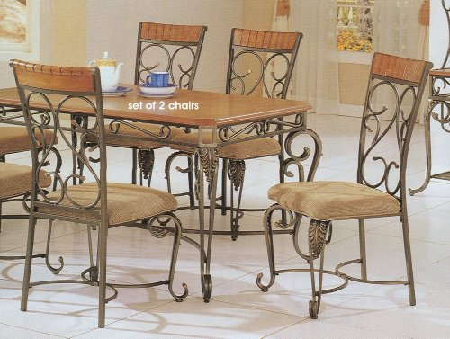 Set of 2 Brown Wrought Iron Metal Formal Dining Chairs