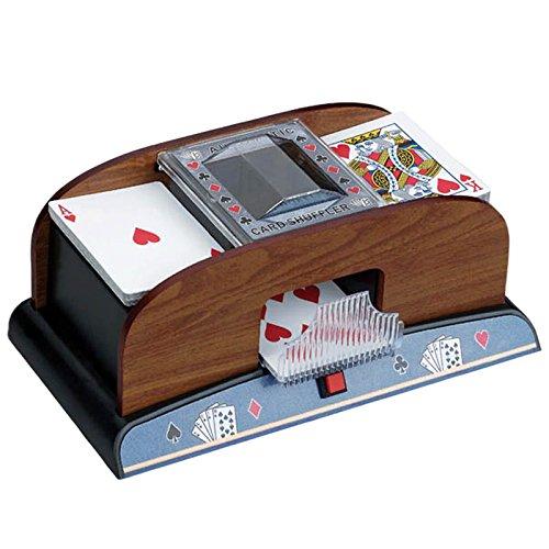 Elektrischer Profi Kartenmischer Automatik Kartenmischmaschine mit Holz-Furnier-Dekor