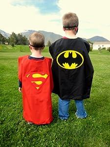 Reversible RED Superman Batman Superhero Cape Costume with Mask