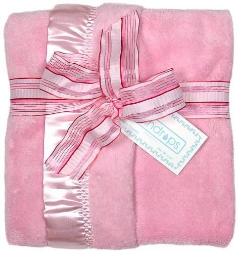 Raindrops Flurr Receiving Blanket, Pink