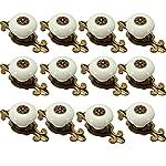 IdealDecor 12PCS Vintage Bronze Ceramic Knobs Handles Pulls for Cabinet Drawer Closet Dresser Cupboard Wardrobe Furniture Door Kitchen & Baby Kid's Children's Furniture Decor (Bronze-white)