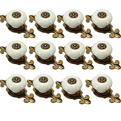 IdealDecor 12PCS Vintage Bronze Ceramic Knobs Handles Pulls for Cabinet Drawer Closet Dresser Cupboard Wardrobe Furniture Door Kitchen & Baby Kid's Children's Furniture Decor (Bronze-white) 0