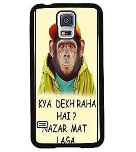 PRINTVISA Handsome Monckey Premium Metallic Insert Back Case Cover for Samsung Galaxy S5 - G900I - D5964