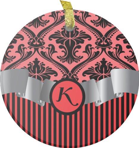 "Rikki Knighttm Letter ""K"" Initial Red Damask And Stripes Monogrammed Bevelled Glass Ornament front-623136"