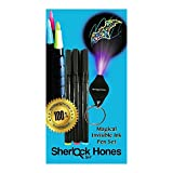 Invisible Pens - Kids Party Toy 3 Pack - Disappearing Ink Markers with UV Dark Light on Keychain - Awesome Stuff for Secret Message Writing - A Magic Secret Agent Spy Pen and More, by Sherlock Hones