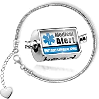 Charm Set Medical Alert Blue UNSTABLE Cervical Spine - Bead comes with Bracelet , Neonblond from NEONBLOND