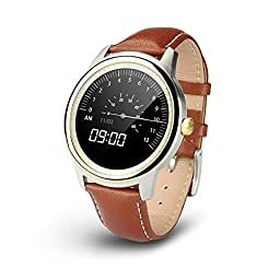 Rasse DM365 Bluetooth Smart Watch Waterproof Leather Strap Full HD IPS Screen G-sensor Fitness Watch Tracker Sleep Monitor Sync Call Message For iOS Android Smartphone (Glod)